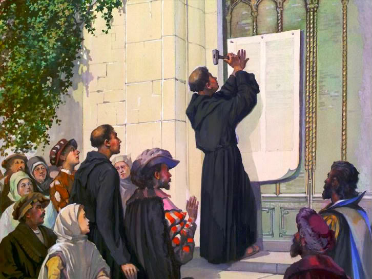 Martin Luther posting his 95 Theses